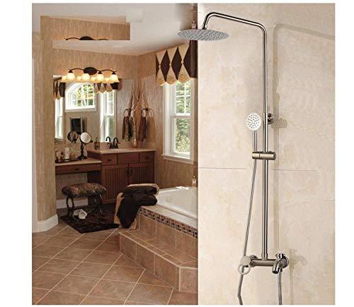 Wasserhahn Nickel gebürstet Bad Dusche Wasserhahn kaltes heißes Wasser Mixer einzigen Handgriff verstellbare Regendusche Bar Wandhalterung Dusche Set -