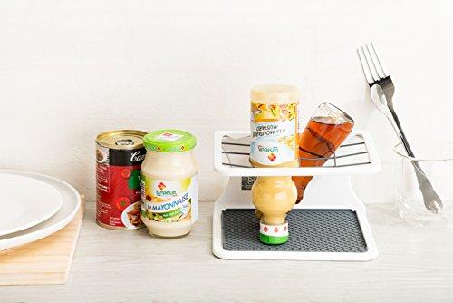 beBig nachhaltiger Soßen- und Flaschenhalter Küche - höhenverstellbarer Küchen-Organizer für restlos leere Soßen, Flaschen & Co - weiß