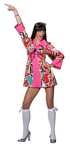 Karneval Klamotten Hippie Kleid Kostüm Damen Flower-Power Kostüm Damen Disco-Kleid Damen-Kostüm Größe 42