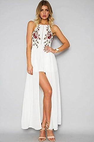 Long White Halter Dress - Robe de soirée féminine Boho Style halter