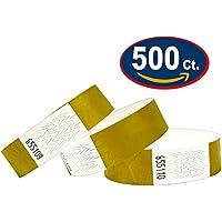 Tyvek Pulseras – 500 unidades – Dorado – Tyvek pulseras para eventos