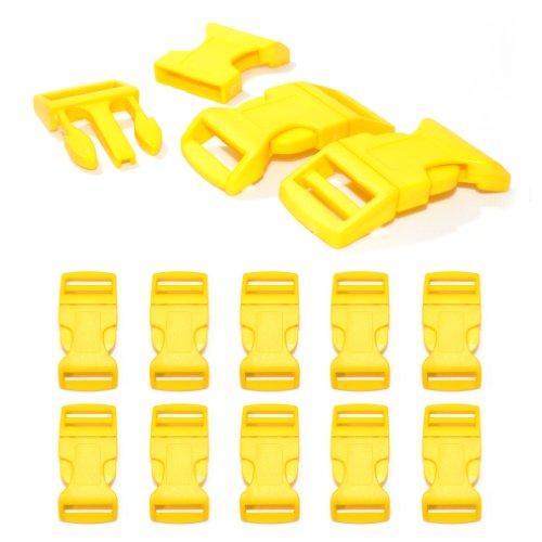 'Lot de 10 1 fermeture à clic/Fermoir à clip à douille XL (No) en plastique pour bracelets paracord, cordons etc., 65 mm x 32 mm, couleur : jaune – Ganzoo