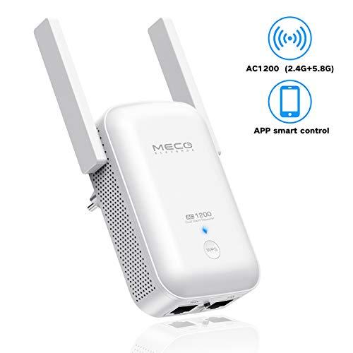 MECO ELEVERDE Repeteur WiFi (Amplificateur WiFi) AC1200 Dual Band, Répéteur WiFi, WiFi Extender, 2 Ports Ethernet,Supprimez Les Zones Mortes,Compatible avec Toutes Les Box Internet