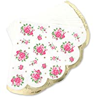 Juvale Vintage Floral Party Napkins (50-Pack) - Disposable Paper Party Napkins - Vintage Floral Print, Scalloped Edge - 3 Ply, 4.9 x 4.7 inches Folded
