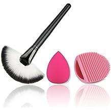 JasCherry Pro 1 Pcs brochas de maquillaje cosméticas Kit + 1 Esponja Fundación Puff + 1 Limpieza Maquillaje Guante - profesional cepillos / pinceles conjunto para Corrector Sombra de Ojos Ceja Fundación Polvo