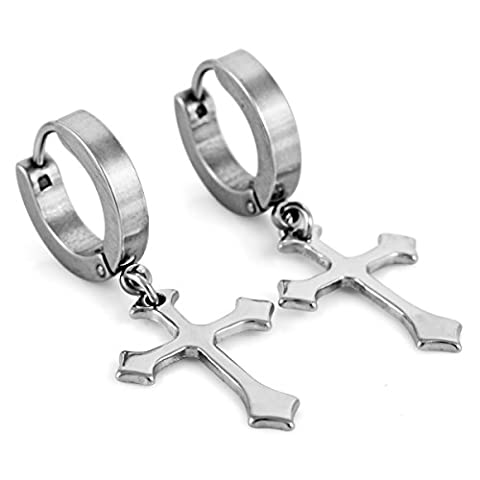 MunkiMix Stainless Steel Stud Earrings Silver Tone Round Cross Pendant Men