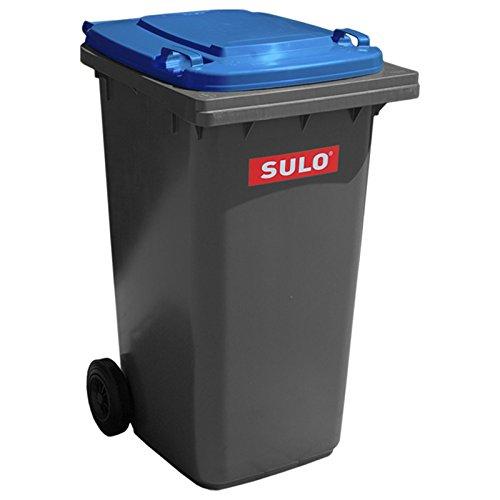 SULO Mülltonne Müllbehälter 2 Rad MGB ***80 Liter grau mit blauem Deckel*** (Mülltonnen Rädern Mit)