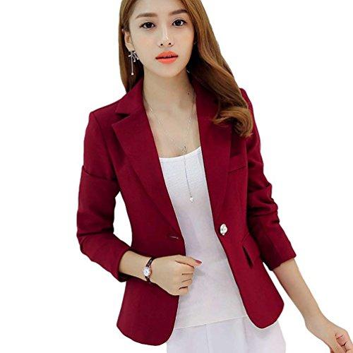 YiLianDa Kurz Blazer Jacke Elegant Freizeit Schlank Business Lange Hülse Frauen Jacken Anzug Rot M (Frauen Anzug-jacken)