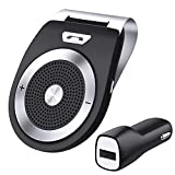Aupolo Freisprecheinrichtung Car-Kit V4.1 Bluetooth Visier Freisprechanlage Auto Lautspreche Musik Empfänger Bau in Mic Pair Zwei Gerät für iPhone 6 6s 7, Samsung,iPod