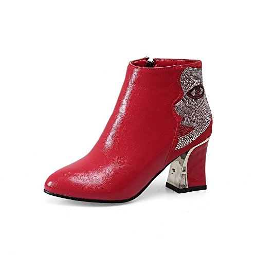 AllhqFashion Damen Weiches Material Spitz Zehe Eingelegt Knöchel Hohe Hoher Absatz Stiefel, Rot, 36