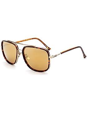 Aviator Gafas de sol Cuadrado Marco de metal Gafas de sol retro Oro Gafas UV400