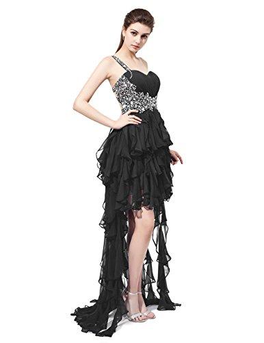 Dresstells Robe de cérémonie asymétrique une épaule emperlée Noir
