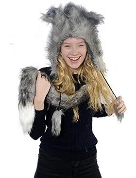 CrazyGadget®, colbacco da donna in pelliccia sintetica, invernale, tiene caldo, sciarpa integrata