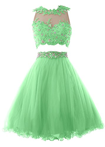 MACloth Women Two Piece Lace Tulle Short Prom Dress Homecoming Party Formal Gown Minze