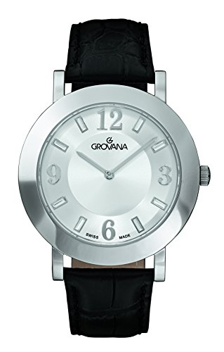 GROVANA 4433.1532 Unisex Quartz Swiss Watch with White Dial Analogue Display and Black Leather Strap