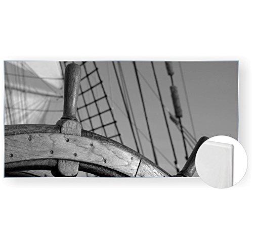 Acrylglasbild Acryl Glasbilder 120x60 cm 5mm edel Steuerrad Schiff Farbe schwarz weiß, Material Ohne Gravur-Rahmen