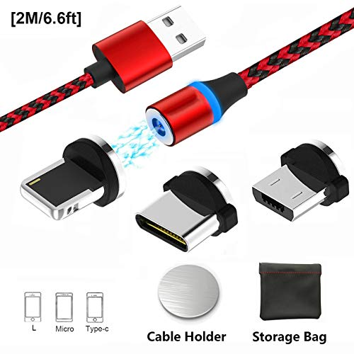 Magnetisches USB-Ladekabel, Multi 3-in-1 Kabel Ladegerät mit LED für Handy/Android, mehrere Ladeadapter, Micro-Light-Typ C - No Sync Data