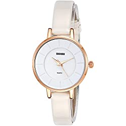Inwet Slim Women's Quartz Watch,White Leather Strap,Simple Dial