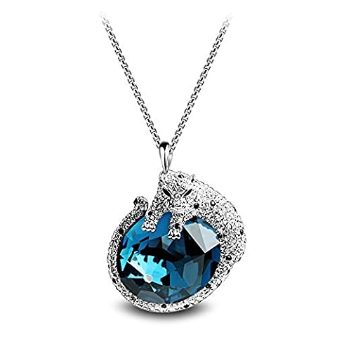 CECE DEE - Long Necklace with Blue Crystal - Leopard Pendant - 18ct White Gold Plated - Women's Fashion Jewellery of Sweater Chain - Length:31.5in/80cm