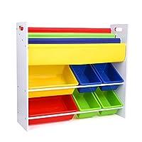 HOMFA Toy Storage Unit with 3 Tier Bookshelf and 6 Toy Storage Bins for Kids Multicolor