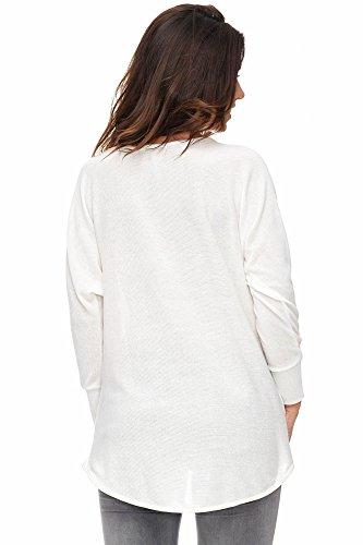 Jillymode Elegante Damen Langarmshirts einfarbig A1207 A1207-Weiß