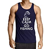 Camisetas de Tirantes para Hombre Ropa de Pesca, Regalo Gracioso Pescador, Citas de Humor (XX-Large Azul