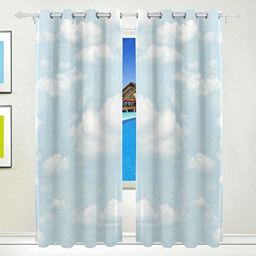TIZORAX blau Himmel weiß Wolken Vorhänge Verdunkeln isoliert Blackout Fenster Panel Drapes für Wohnzimmer Schlafzimmer 139,7x 213,4cm, Set von 2Panels