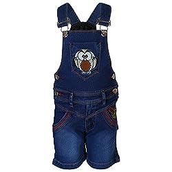 FirstClap Denim Dark blue Short Dungaree for Kids