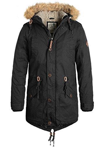 SOLID Clark Teddy Herren Parka lange Winterjacke aus 100% Baumwolle mit Kapuze und Kunstfellkragen Black (9000)