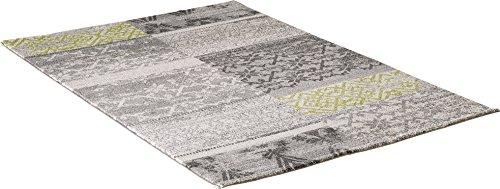 carpet city Designer Modern Hochwertig Teppich Classic Floral Rechteck Grau Schwarz Grün Öko Tex 80x150 cm