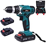 Flybiz 1650/min Perceuse sans Fil avec des lumières led, Foret, Professionnel Perceuse visseuse sans fil, 21V Batterie Lithium-ion Rechargeable, 2 Batterie 1.5Ah, 60min Charge Rapide (Drill Driver)