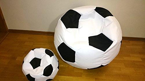 Set 2 Pouf, puf, pouff, bean bagfootball, pallone calcio 100 cm xxl + 40cm poggiapiedi