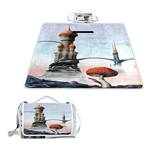 Four Fool 1960er Jahre Hippie-Stil Peace and Love Symbole in Pop Farben Wasserdicht Outdoor Reise Faltbare Picknick Handliche Matte Tragetasche für Strand Camping Wandern 145 x 150 cm