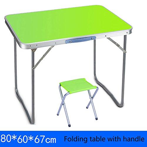 YXX Petite table se pliante carrée et chaises avec la poignée pour le camping Bois pliant table à manger bureaux Des postes de travail informatiques ( Couleur : Table+1 stools , taille : 80*60*67cm )