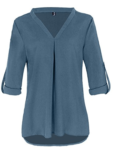 Fleasee Damen Einfarbig Chiffon Bluse V-Ausschnitt Elegante Langarm Tunika Casual Top mit 3/4 Ärmel Locker (Bluse Tunika Top)