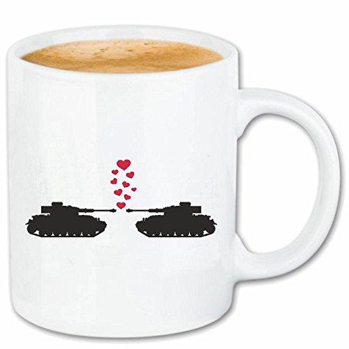 Reifen-Markt Kaffeetasse ZWEI VERLIEBTE PANZER TANK - PEACE - FRIEDEN - WELTFRIEDEN - EINIGKEIT Keramik 330 ml in Weiß