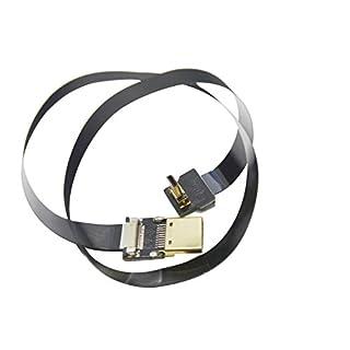 Long FFC BLACK FPV HDMI Cable Micro male HDMI 90 degree angled to Standard HDMI male for panasonic lumix GH4 blackmagic BMPCC sony alpha sony A5000 A6000 A7S A7R DJI (60CM)