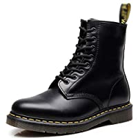 Dr. Martin unisex boots, British wind couple leather booties, casual high-top round locomotive shoes hiking boots lace boots Che lsea boots (Color : Black, Size : 43)