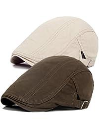 Decstore Paquete de 2 Hombres Beret de Algodón Plano Tapa Ivy Cabbie  Newsboy Hat Otoño Verano… 4e7a3798142