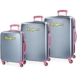 Pepe Jeans Bristol Juego de maletas, 204 litros, 77 cm, Gris