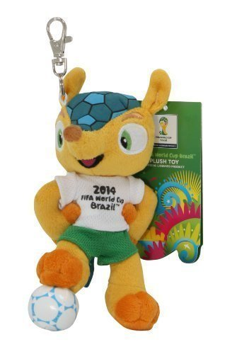 Preisvergleich Produktbild Fation Internationale de Football Association Fuleco plush 13 cm standing on ball with metal key hook - The official mascot of the 2014 FIFA World Cup Brazil by Fdration Internationale de Football Association