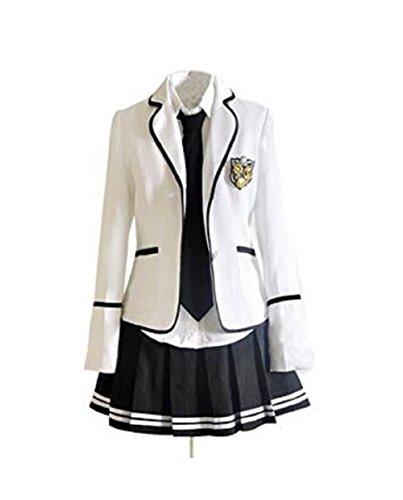 Evalent Japanischen Anime Kleidung Klassische Navy Matrosenanzug Herbst Langarm Mädchen Schüler Schuluniformen Kostüm JK Cosplay (Weißer Mantel) (S) (Anime Cosplay Kostüm Für Mädchen)
