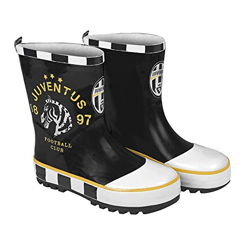 PERLETTI Juventus FC Rain Boots for Kids - Official Juve Rubber Waterproof Wellies with Anti Slip Outsole - Black and White Wellington