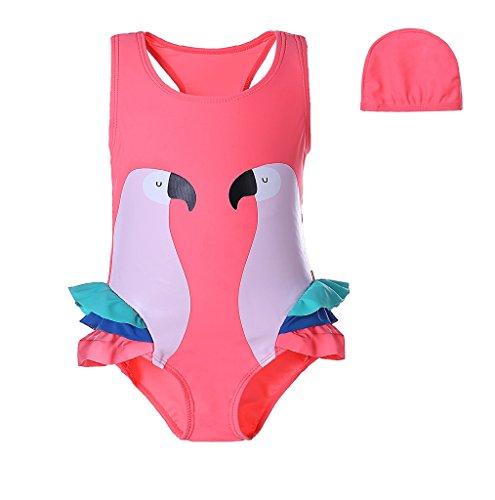 Pettigirl Niña Swimmable Nadando Vestir 1 pieza playa Vestir Loro Niñito Traje de baño con sombrero 3 Año