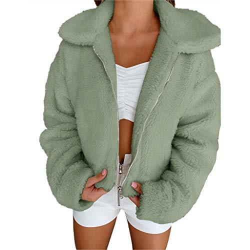 Sllowwa Damen Langarm Plüschjacke Jacke Cardigan Wintermantel Revers Faux Für Lose Outwear Winterjacke Mode Coat Casual Mantel Übergangsjacke