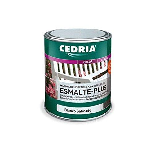 Esmalte Plus al agua satinado apto para hierro y madera - Marca Cedria - 750 ml- (Blanco satinado)