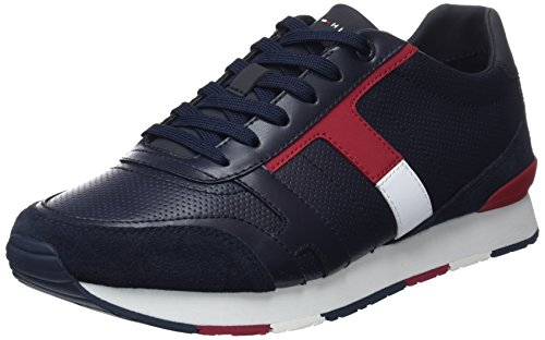 Tommy Hilfiger Herren Corporate Leather Mix Sneaker, Blau (Midnight 403), 42 EU