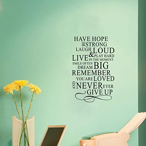mmer Geben Sie nie inspirierende Zitate Art-Deco-Wandaufkleber Home Decor 58x88Cm auf ()