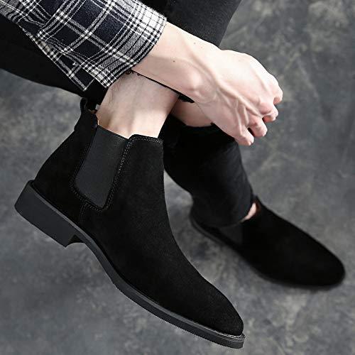 LOVDRAM Stiefel Männer Chelsea Boots Herren Pu Spitzen Stiefel In Der Herren Stiefel Hohe Stiefel Martin Stiefel, 39, Schwarz -