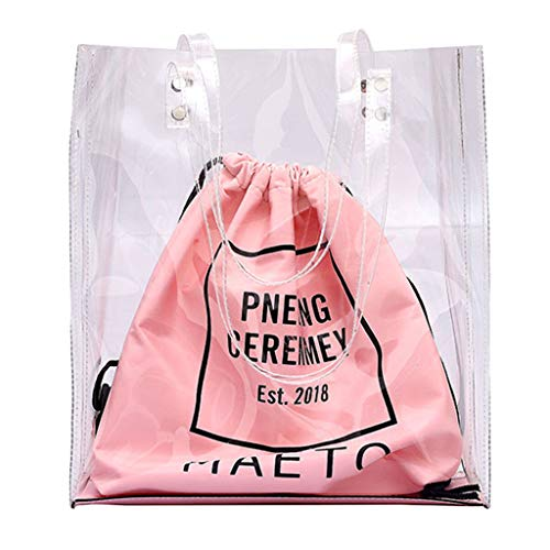LILIGOD Weiblich Handtasche Wasserdichte Tasche Strandtasche Damen Paket Umhängetasche Transparent Tasche ziehen Doppelpack Transparente Nicht Nass Women Shoulder Bundle Pocket Handbag -